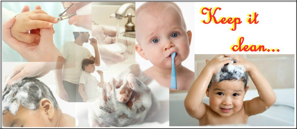 Multiple Pictures of children and babies being washed or brushing teeth with the words Keep It Clean on the side